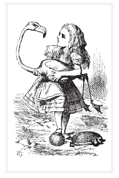 Alice holding a Flamingo Crochet drawn by Sir John Tenniel
