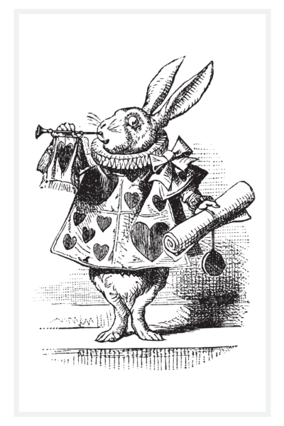 White Rabbit in a Vest blowing a trumpet drawn by Sir John Tenniel