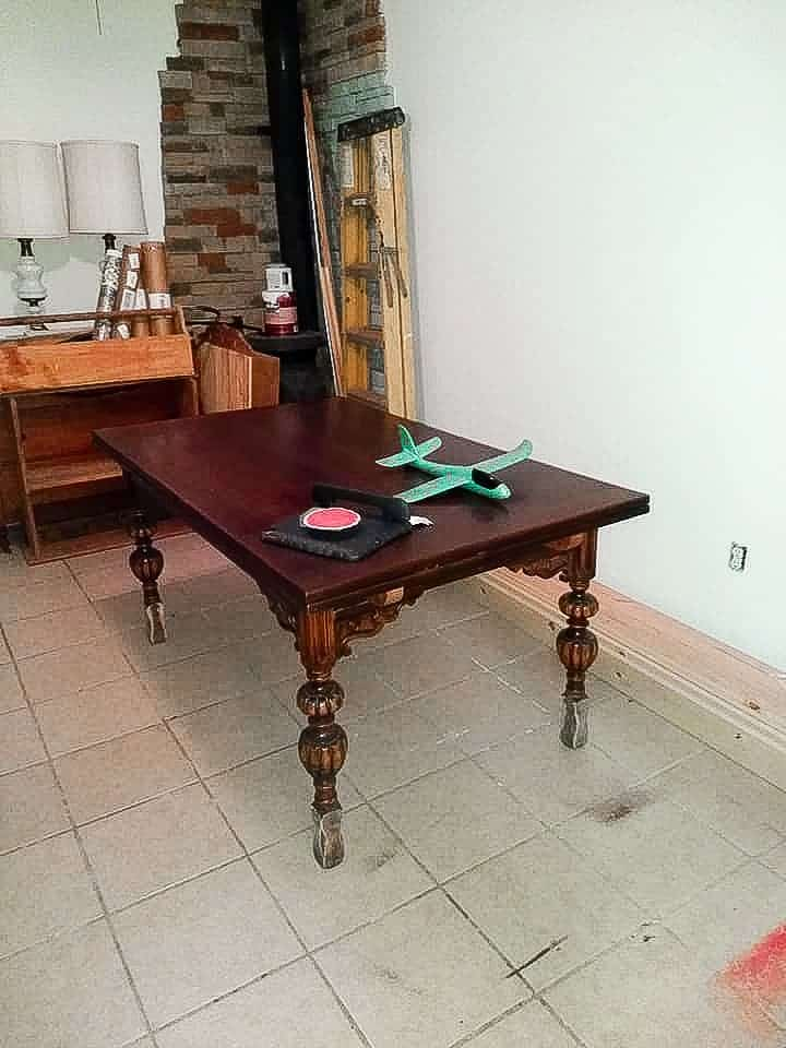 Vintage Table after Leg Supports were Cut Off