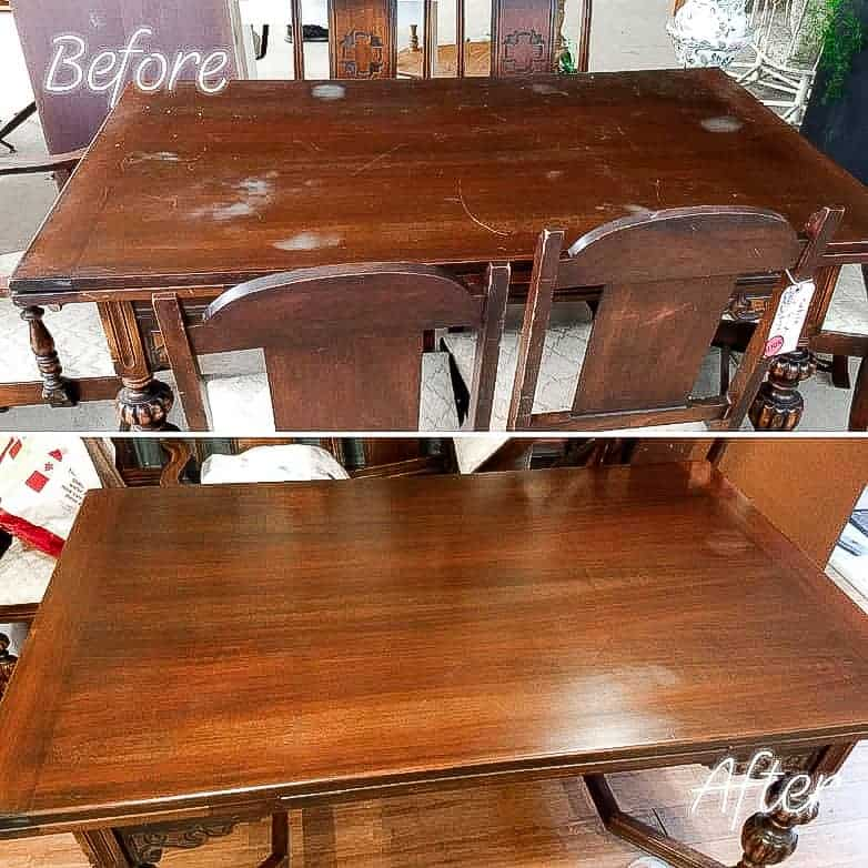 Before and After refinishing the table top