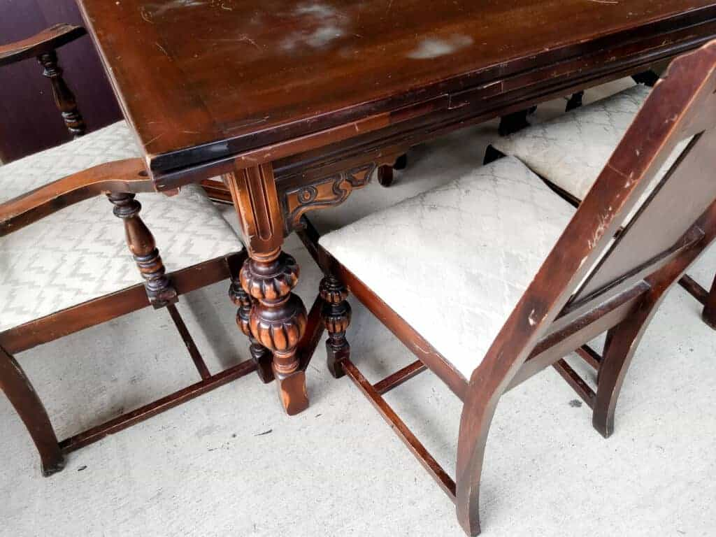 Vintage Dining Room Table and Chair legs and upholstered seats up close