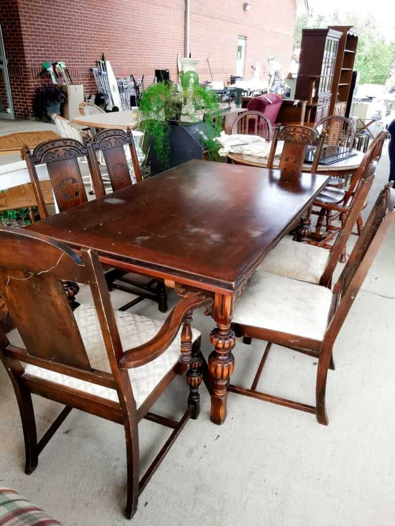 Vintage Dining Room Set, Six upholstered chairs and a table, at a Garage Sale