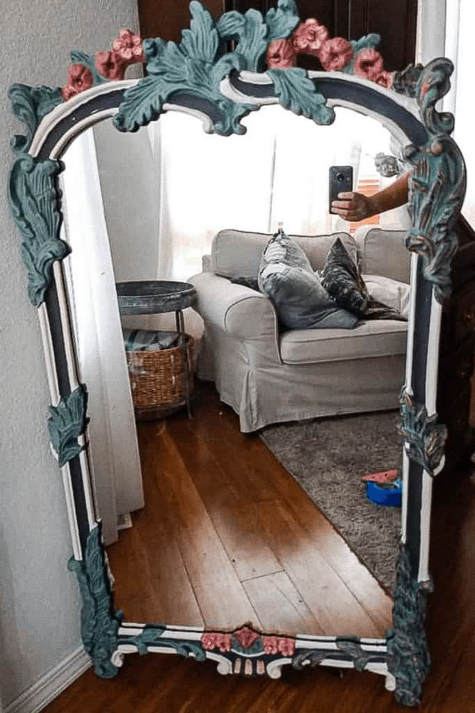 Thrift Mirror Paint process with white border