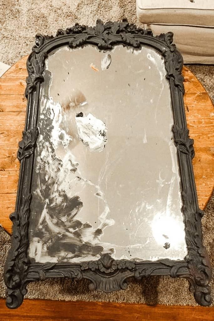 Thrift Mirror Painted Dark Grey