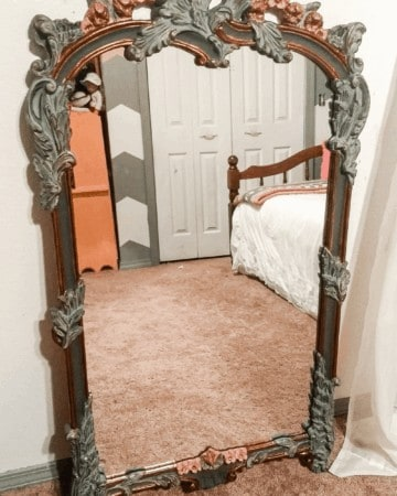 Beautiful ornate romantic painted mirror with rose gold and pink and green