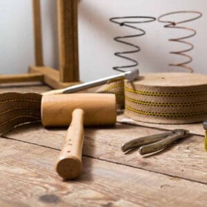 Upholstery tools a mallet and springs and a staple puller for rehab and reclaim projects by capturing wonderland