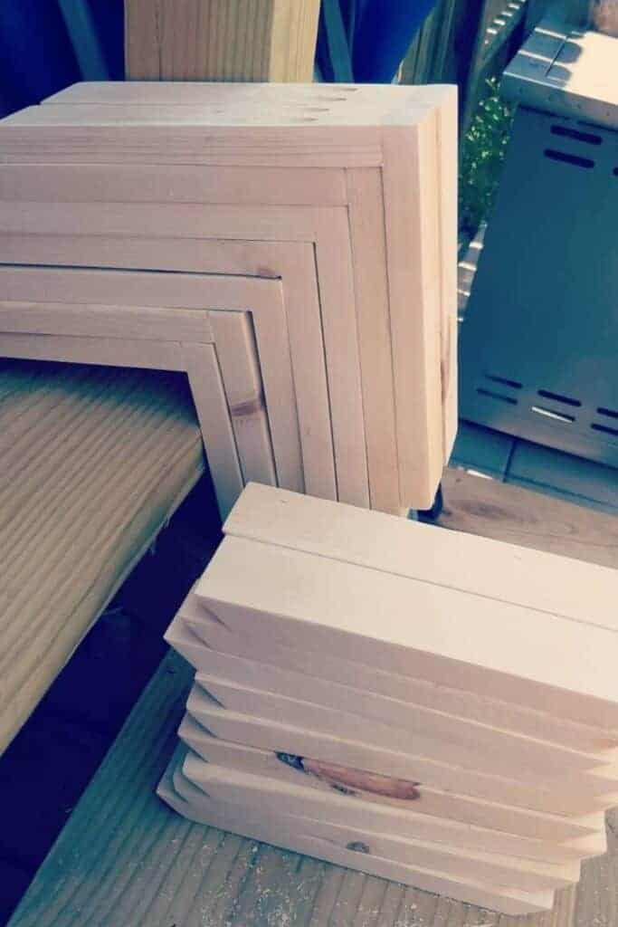 natural pine 1x2 boards sanded and prepped to stain and assemble the best wooden shelf brackets by capturing wonderland