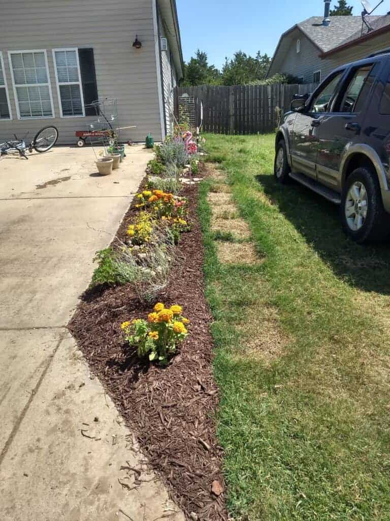 strip by driveway full of flowers and wood chips small perennial garden by capturing wonderland