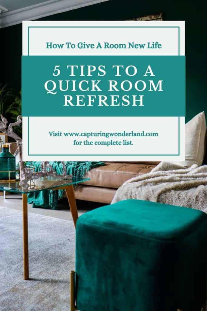 5 Tips How to Give a Room new life at capturingwonderland.com a dark green velvet footstool