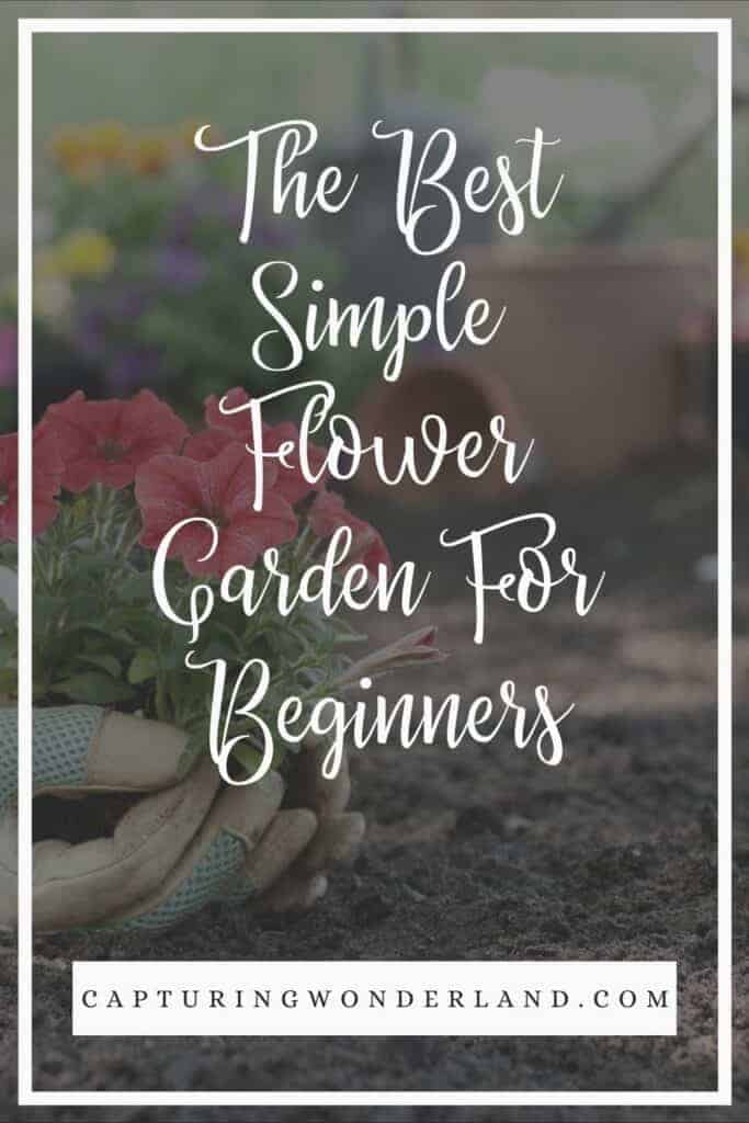 How to Grow the Best Simple Flower Garden For Beginners in text by capturing wonderland with a hand planting a flower in a garden behind