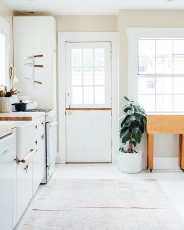 Light and airy farmhouse kitchen. Give a room new life with a fresh coat of white paint.